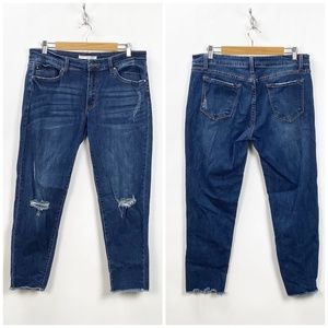 Kancan Distressed Raw Edge Skinny Ankle Jeans